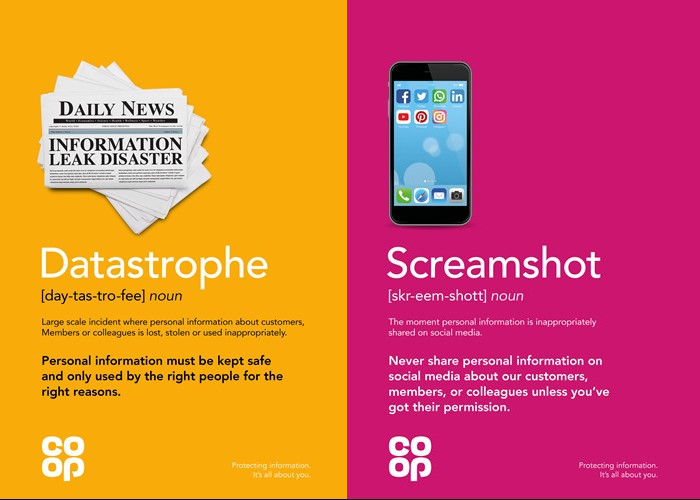 Posters for Co-op data campaign - datastrophe and screamshot